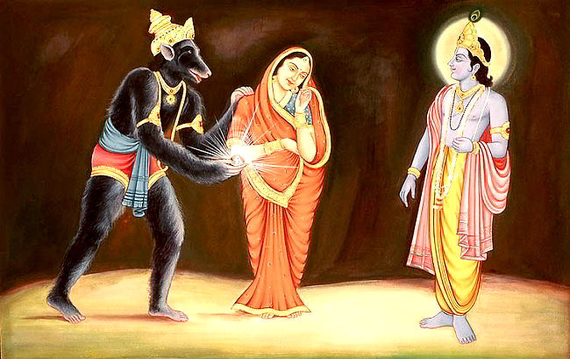 Jambavan-offers-his-daughter-and-Shyamantaka-Gem-to-Krishna