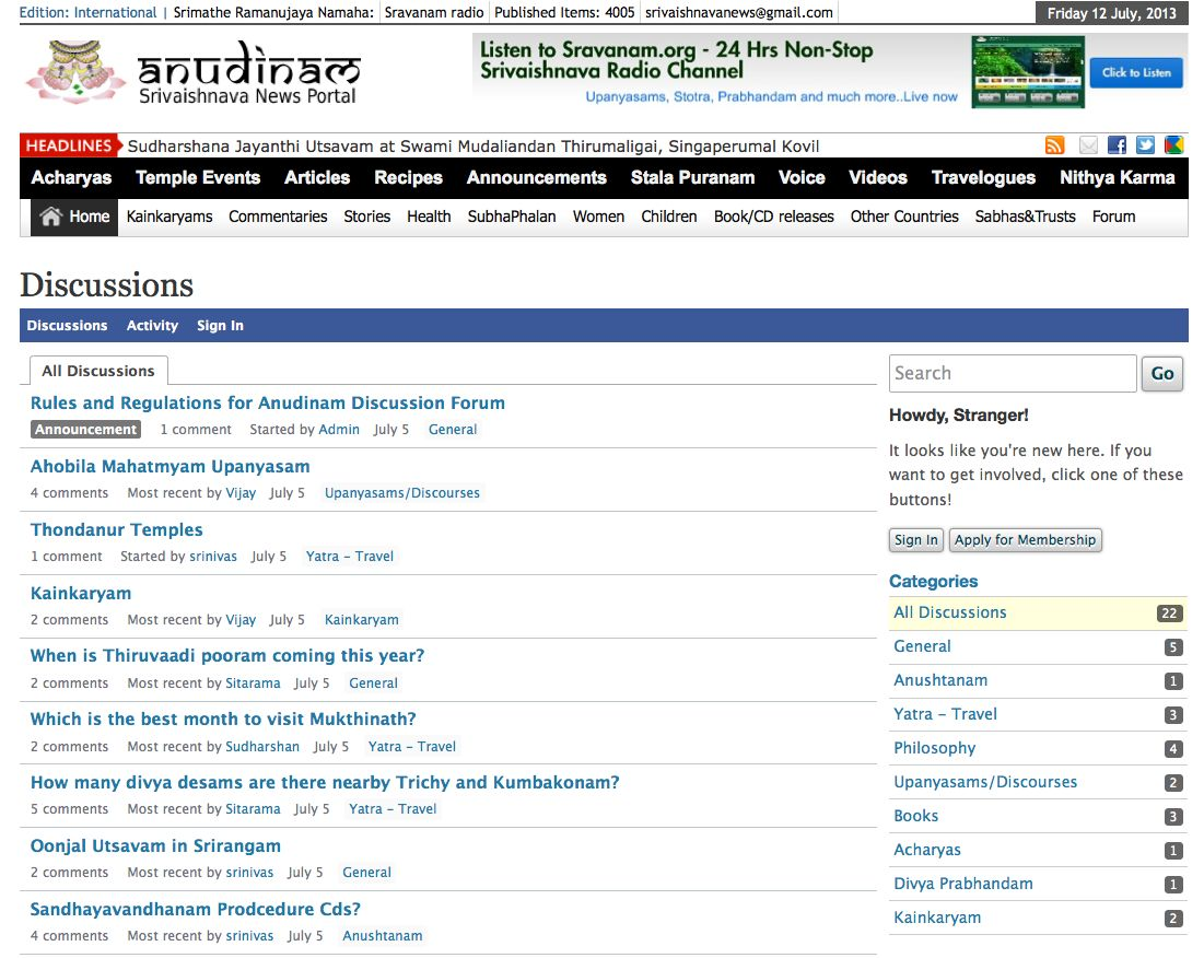 Anudinam Discussion Forum Launched